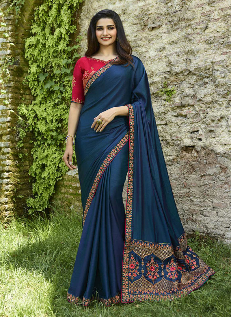 Exclusive Designer Beautiful Blue Color Party Wear Saree - Stylizone
