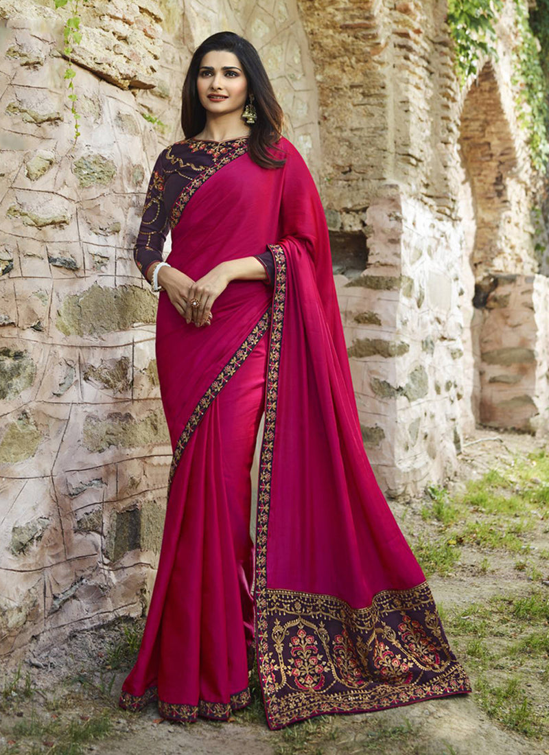 Exclusive Designer Dark Pink Color Party Wear Saree - Stylizone