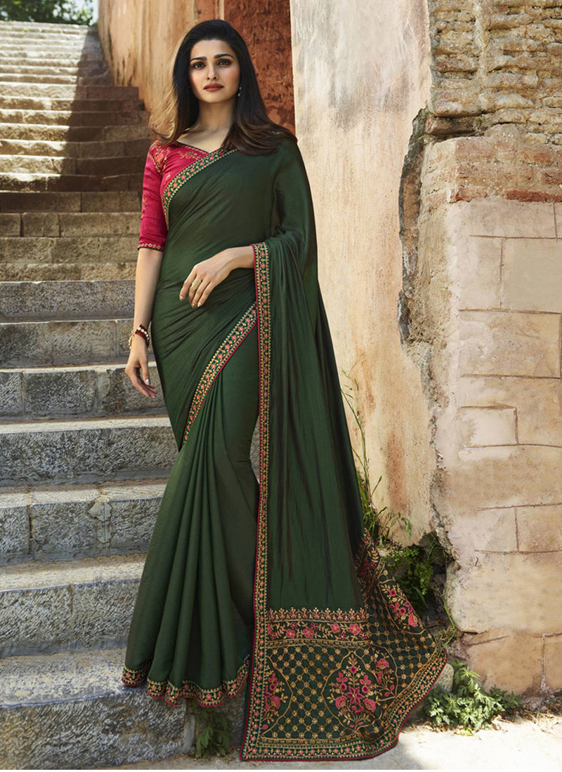 Exclusive Designer Dark Olive Green Color Party Wear Saree