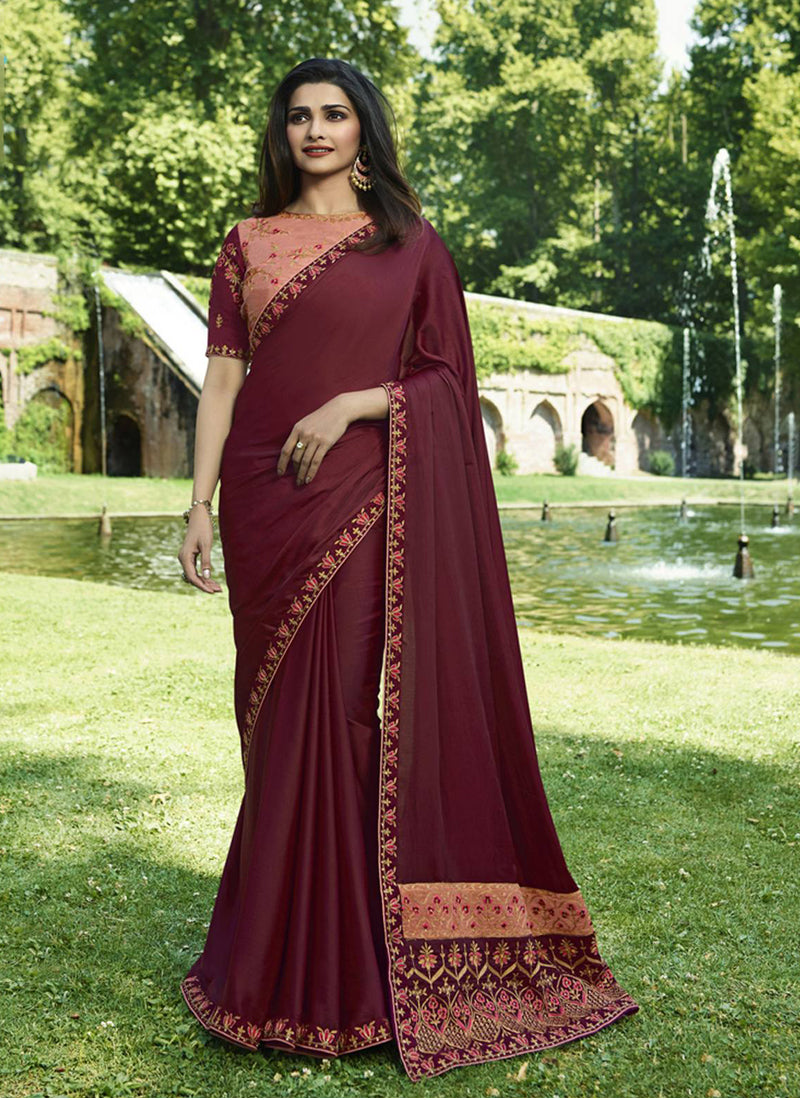 Exclusive Designer Dark Magenta Pink Color Party Wear Saree - Stylizone