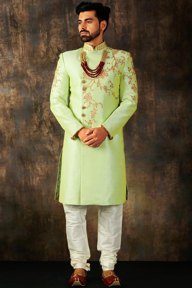 Light Green Zari Embroidered Silk Wedding Sherwani-STYLIZONE