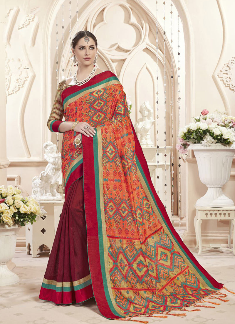 Exclusive Designer Orange And Maroon Pink Color Party Wear Saree