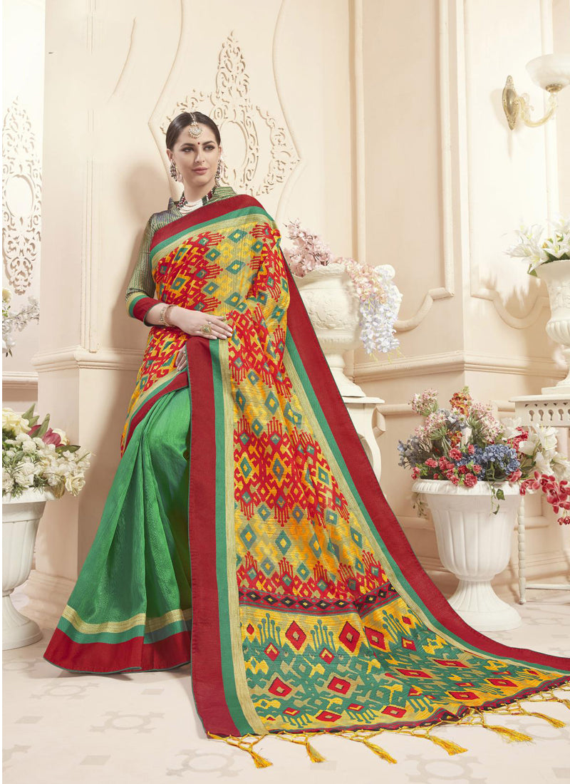 Exclusive Designer Multi And Green Color Party Wear Saree - Stylizone