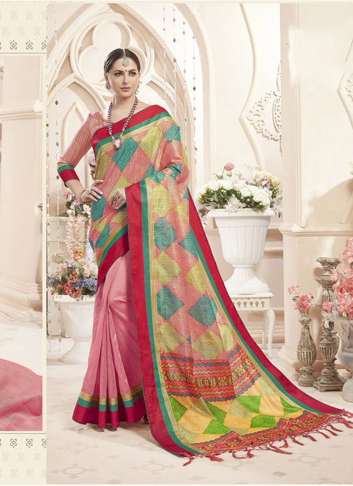 Exclusive Designer Multi And Pink Color Party Wear Saree