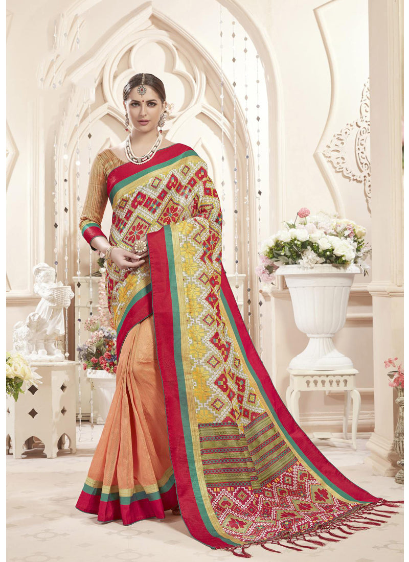 Exclusive Designer Multi And Peach Color Party Wear Saree - Stylizone
