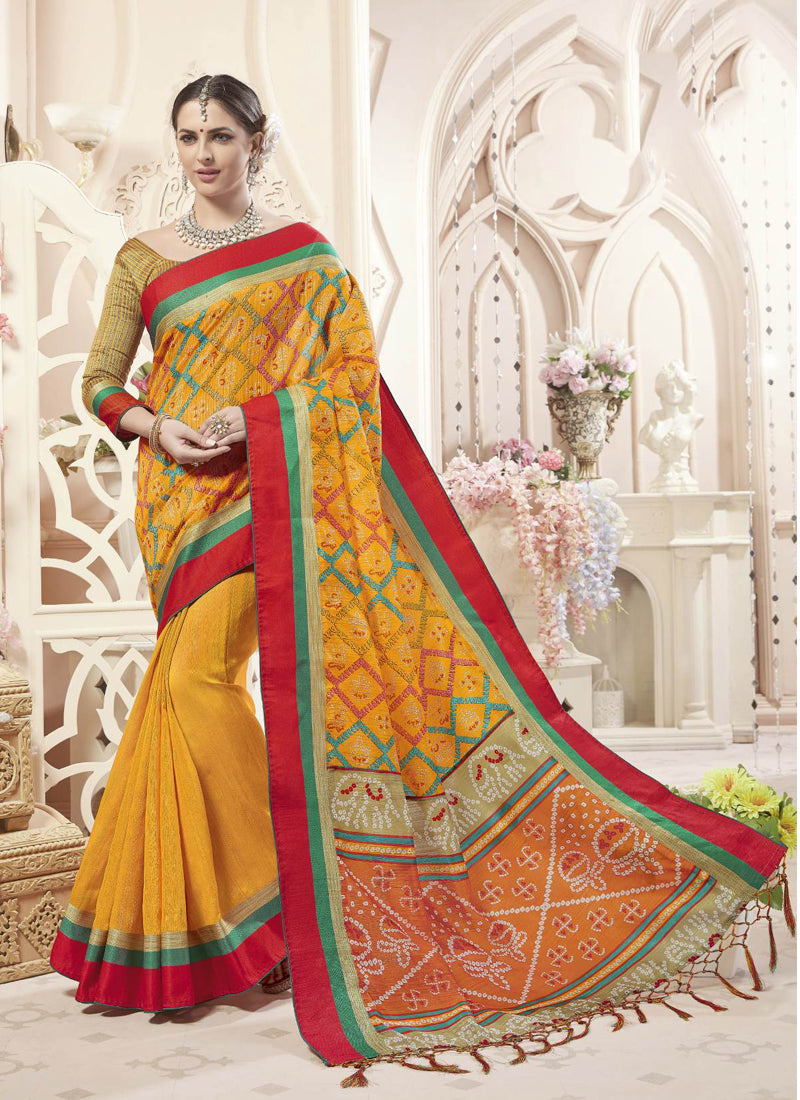Exclusive Designer Mustard Yellow Color Party Wear Saree