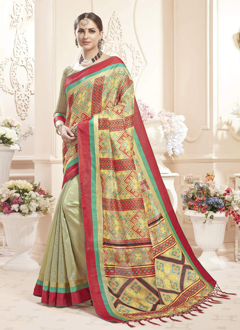 Exclusive Designer Multi And Mint Green Color Party Wear Saree - Stylizone