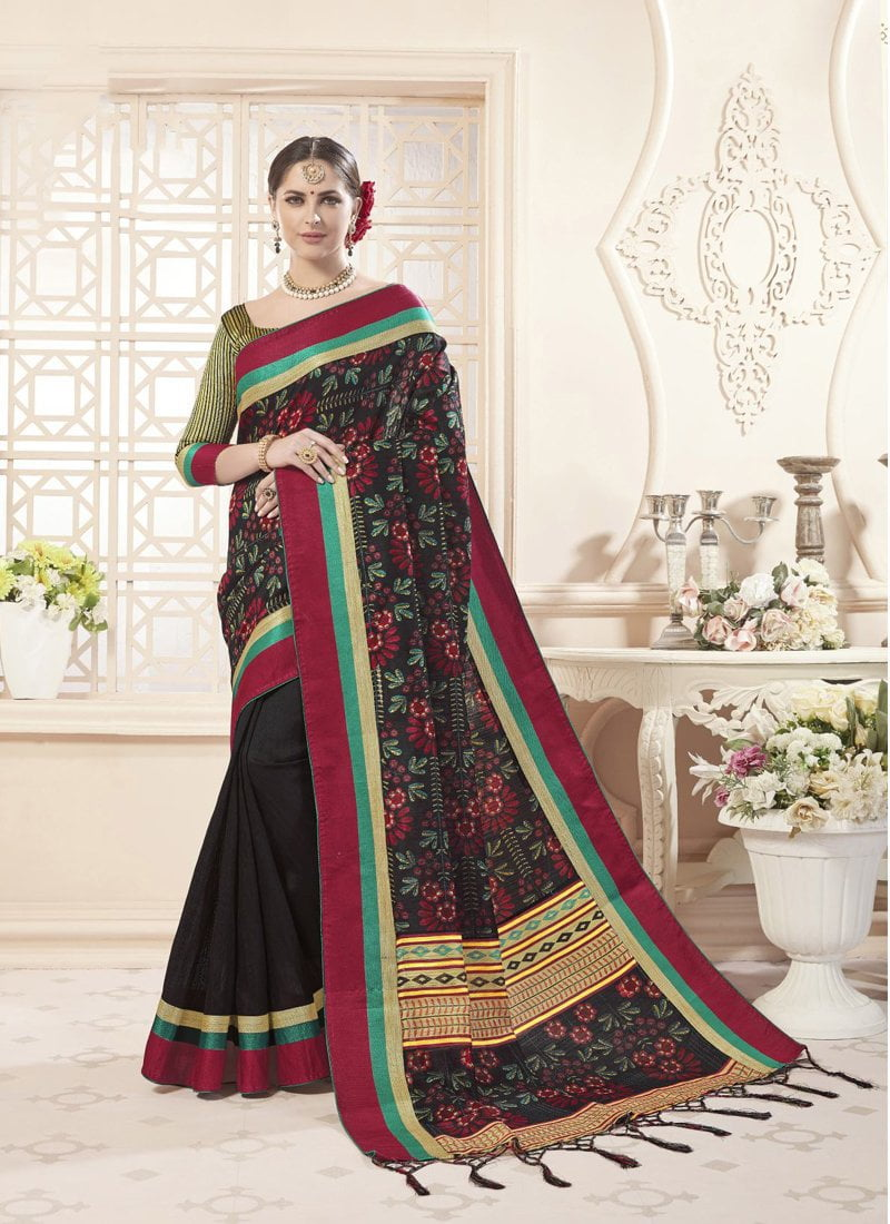 Exclusive Designer Beautiful Black Green Color Party Wear Saree - Stylizone