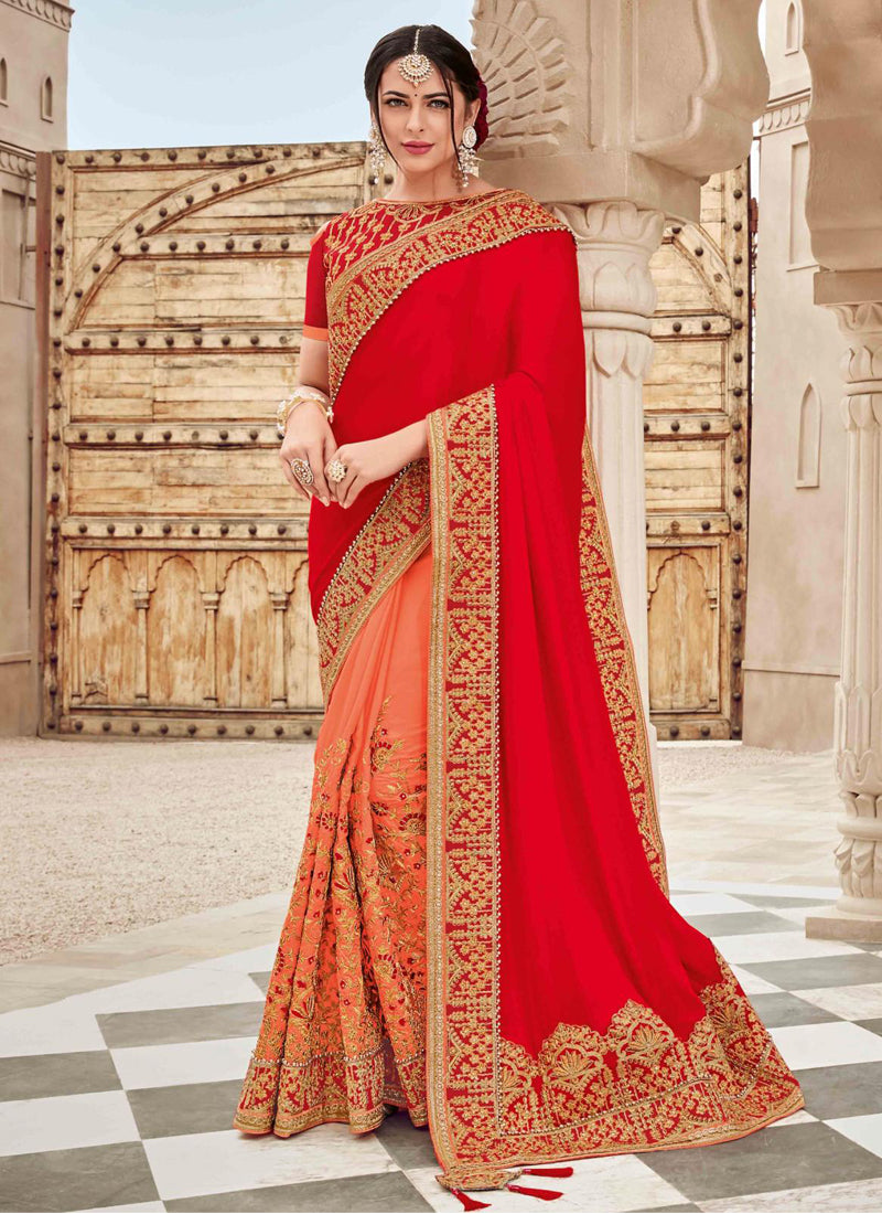 Exclusive Designer Red And Dark Peach Color Party Wear Saree - Stylizone