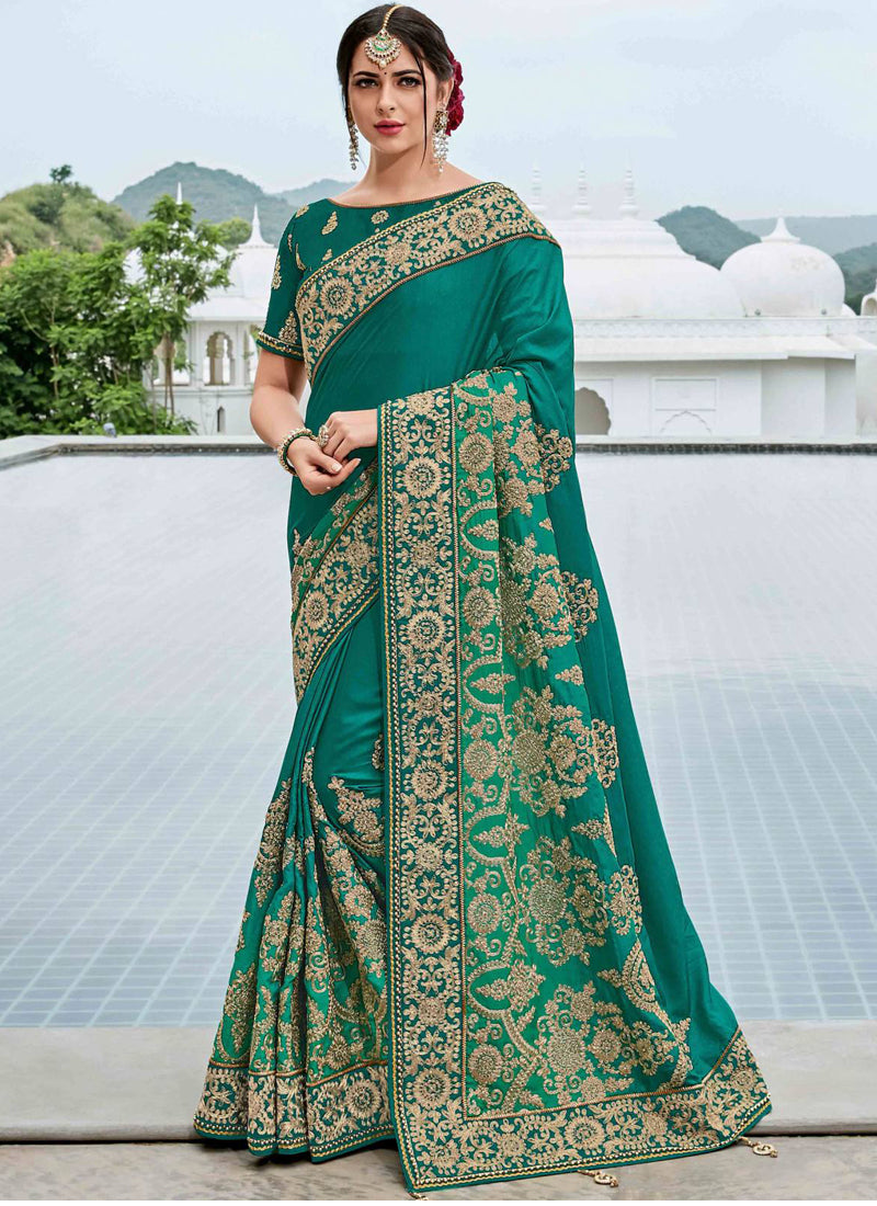 Exclusive Designer Teal Green Color Party Wear Saree