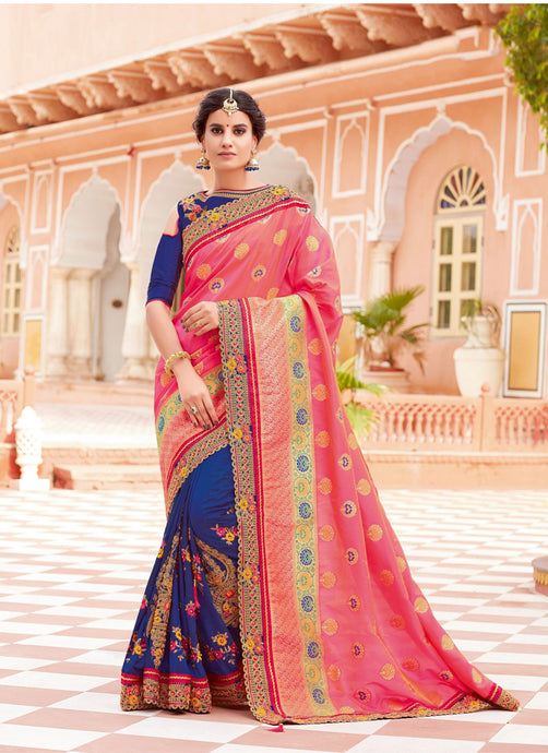 Exclusive Designer Pink And Royal Blue Color Party Wear Saree - Stylizone