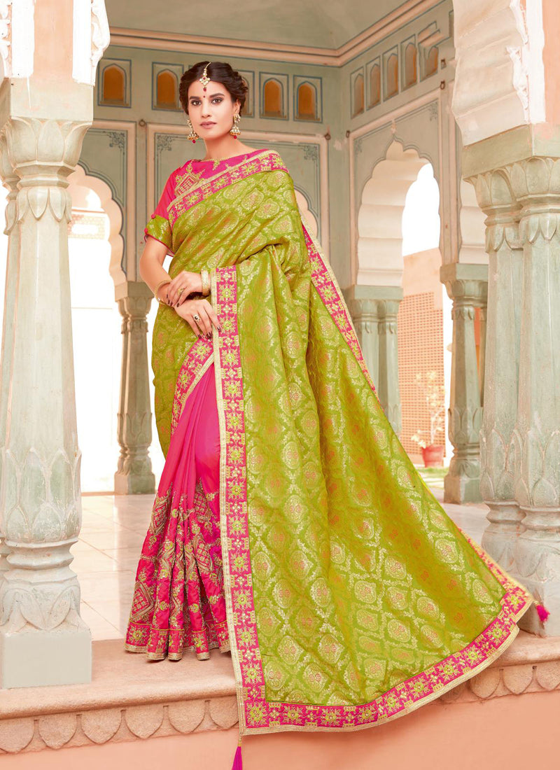 Exclusive Designer Green And Dark Pink Color Party Wear Saree - Stylizone