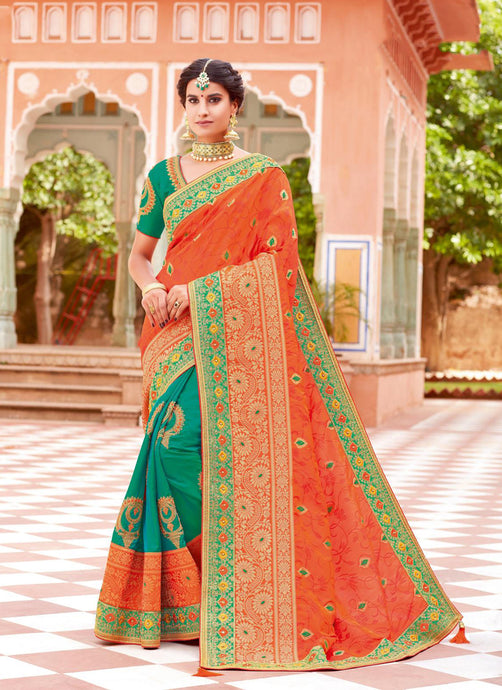 Exclusive Designer Orange And Green Color Party Wear Saree - Stylizone
