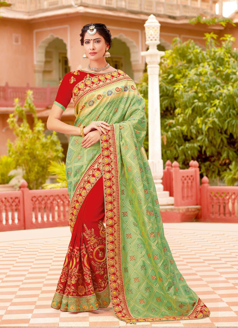 Exclusive Designer Light Green And Red Color Party Wear Saree