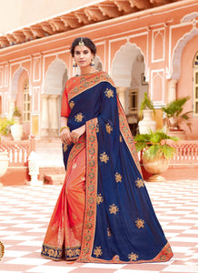 Exclusive Designer Navy Blue And Orange Color Party Wear Saree