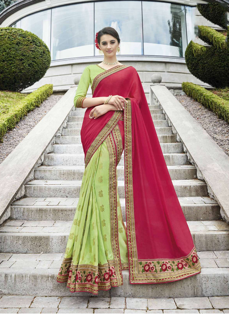 Exclusive Designer Dark Pink And Light Green Color Party Wear Saree - Stylizone