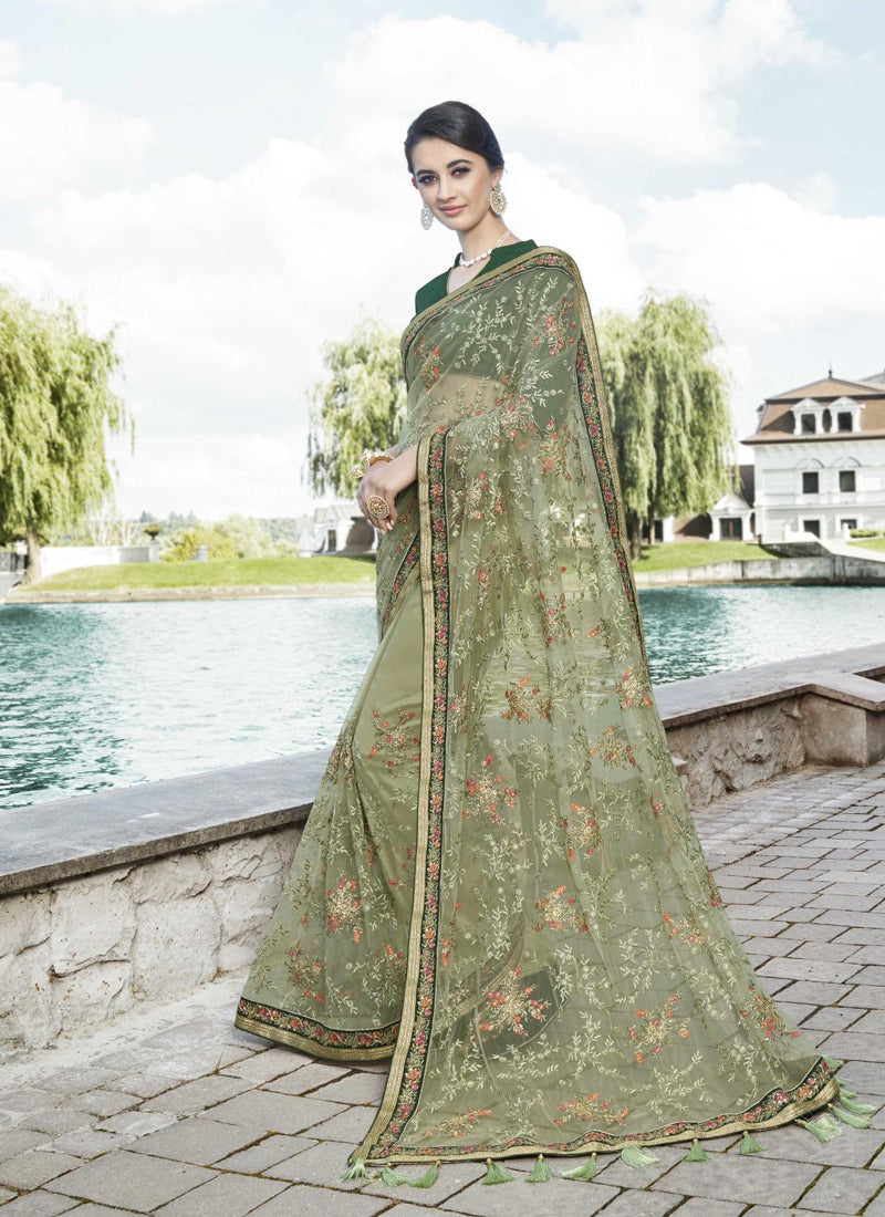 Exclusive Designer Patel Green Color Party Wear Saree