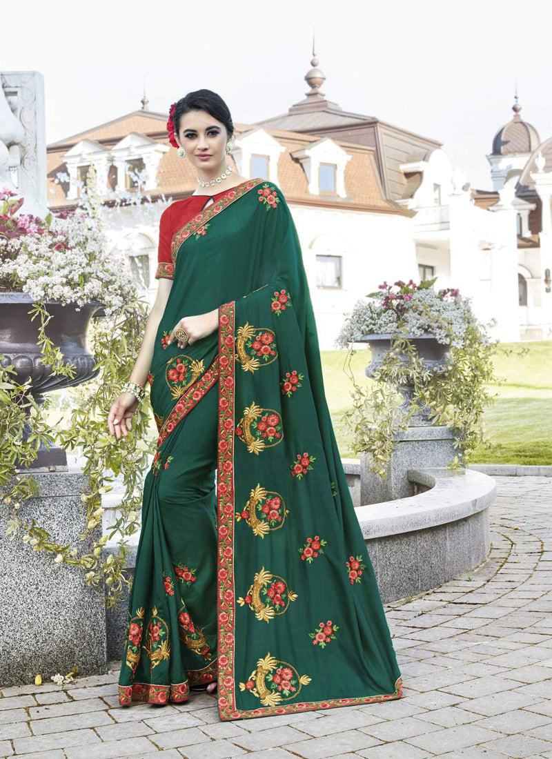 Exclusive Designer Teal Green Color Party Wear Saree - Stylizone