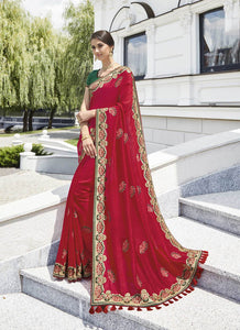 Exclusive Designer Beautiful Red Color Party Wear Saree
