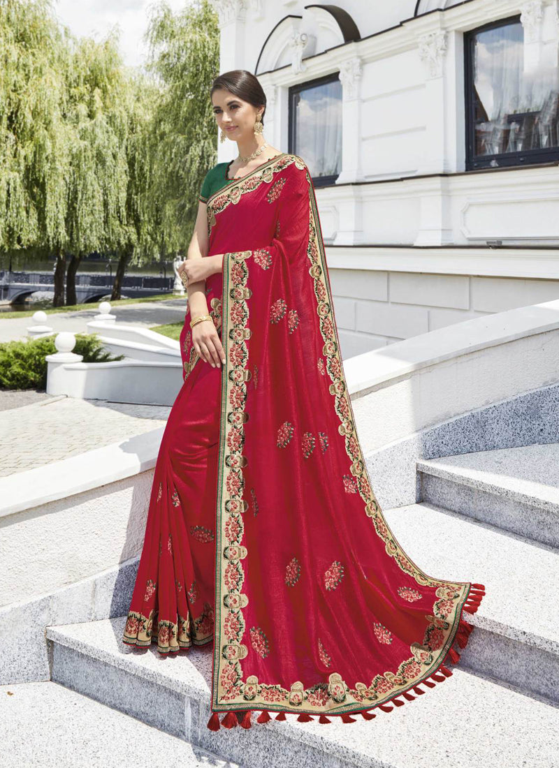 Exclusive Designer Beautiful Red Color Party Wear Saree - Stylizone
