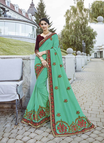 Exclusive Designer Sea Green Color Party Wear Saree