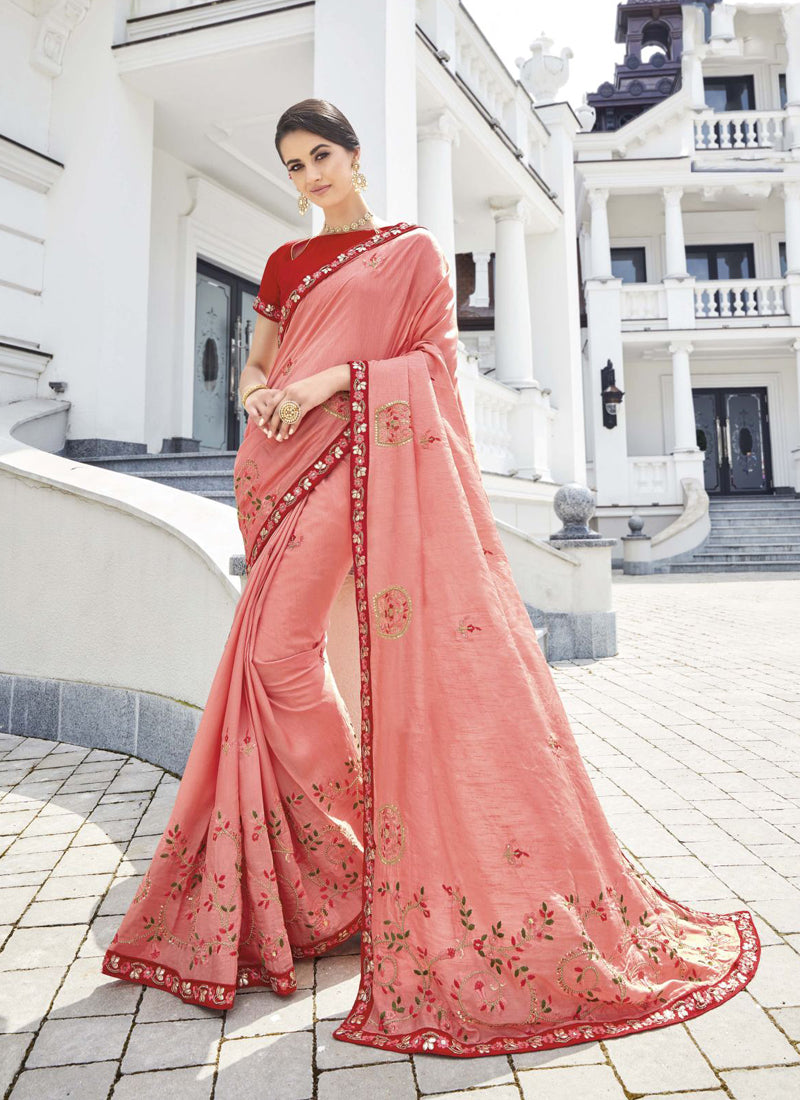Exclusive Designer Light Pink Color Party Wear Saree - Stylizone