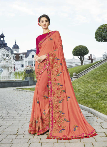 Exclusive Designer Beautiful Peach Color Party Wear Saree