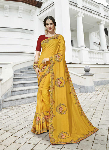 Exclusive Designer Beautiful Yellow Color Party Wear Saree