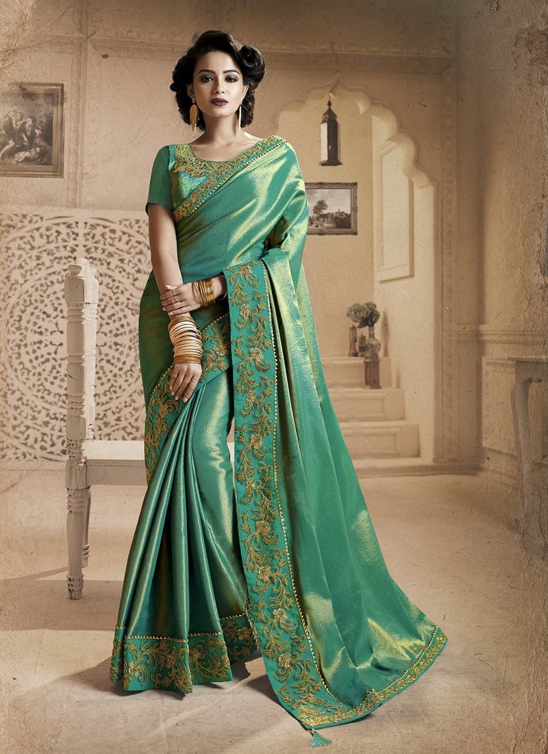 Exclusive Designer Beautiful Sea Green Color Party Wear Saree