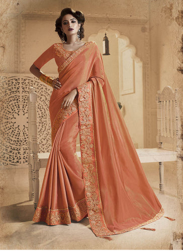 Exclusive Designer Beautiful Peach Color Party Wear Saree - Stylizone