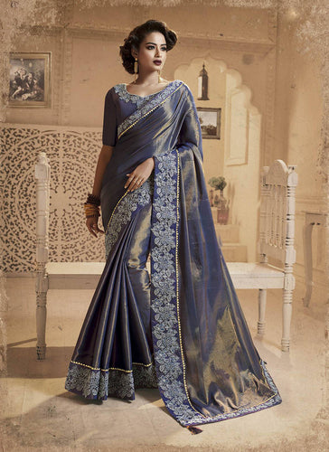 Exclusive Designer Beautiful Navy Blue Color Party Wear Saree