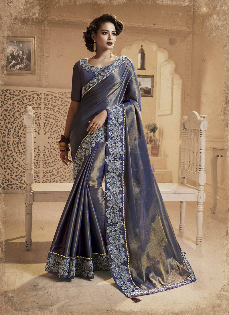 Exclusive Designer Beautiful Navy Blue Color Party Wear Saree - Stylizone