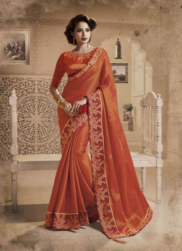 Exclusive Designer Beautiful Orange Color Party Wear Saree