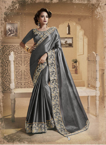 Exclusive Designer Beautiful Grey Color Party Wear Saree