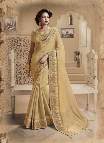 Exclusive Designer Beautiful Beige Color Party Wear Saree