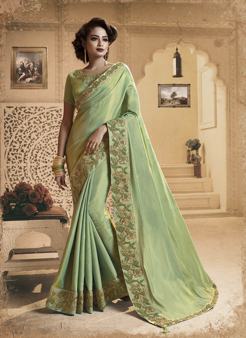 Exclusive Designer Beautiful Light Green Color Party Wear Saree