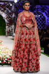 Berry pink and red fully embroidered rose bed lehenga set