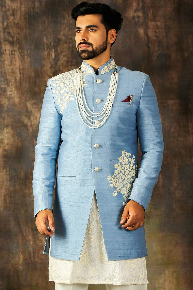 Columbia Blue Dori Embroidered Raw Silk Wedding Sherwani-STYLIZONE
