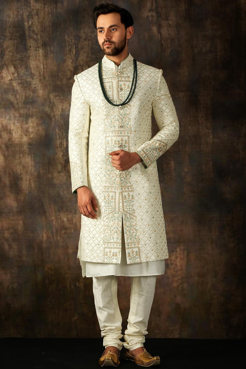 White Resham Embroidered Raw Silk Wedding Sherwani-STYLIZONE
