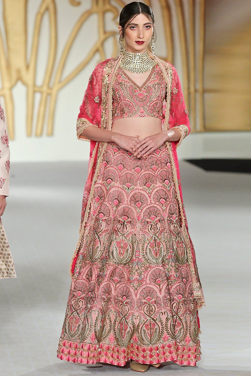 Exclusive Designer Pink scallop lehenga set