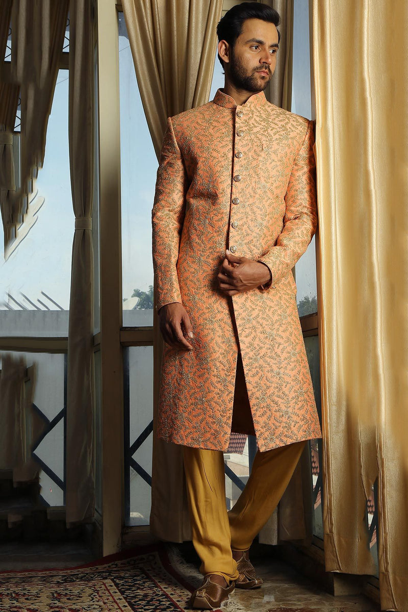 Peach Dori Embroidered Raw Silk Wedding Sherwani-STYLIZONE