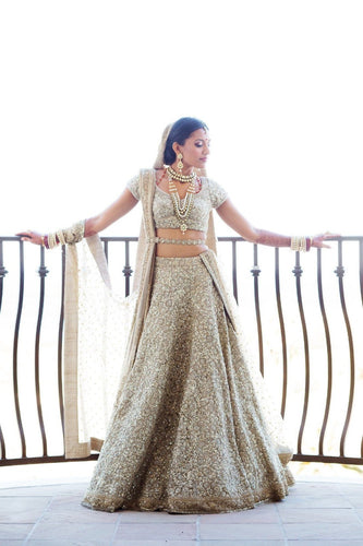 A109-Exclusive Heavy Designer Beautiful Cream Color Bridal Lehenga Choli