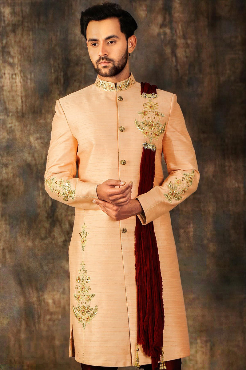 Peach Zari Embroidered Silk Wedding Sherwani-STYLIZONE