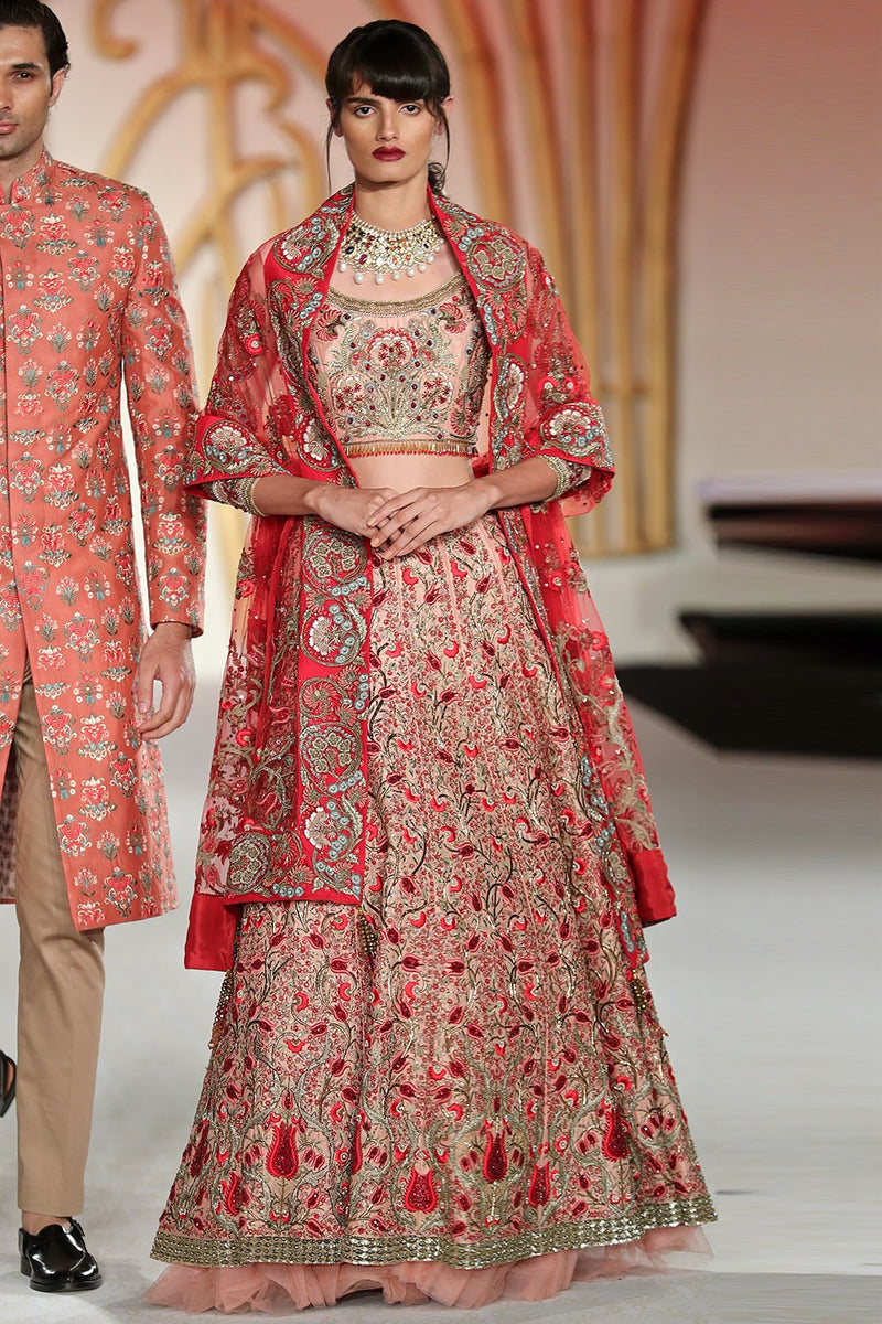 Exclusive Designer Pink floral pattern lehenga set