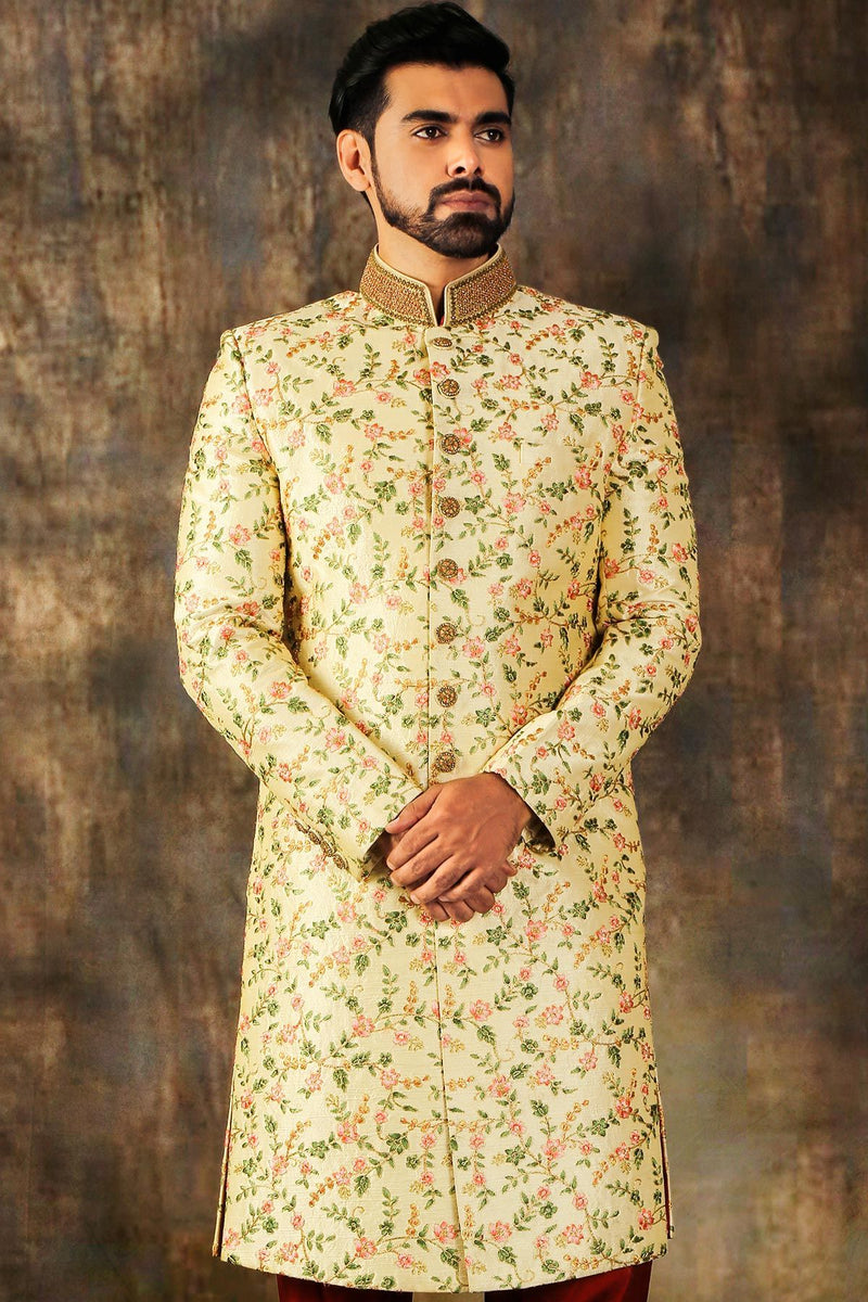 Cream Resham Embroidered Raw Silk Wedding Sherwani-STYLIZONE
