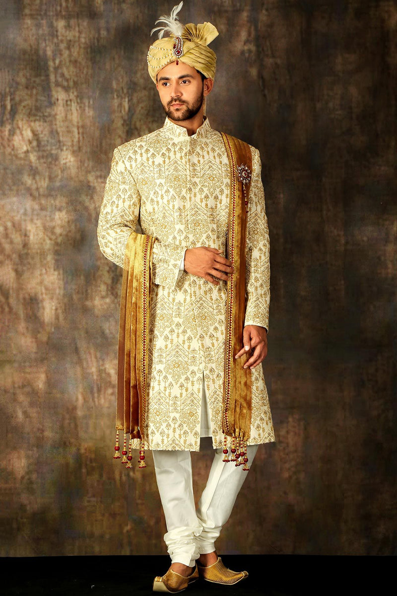 Off White Zari Embroidered Silk Wedding Sherwani-STYLIZONE