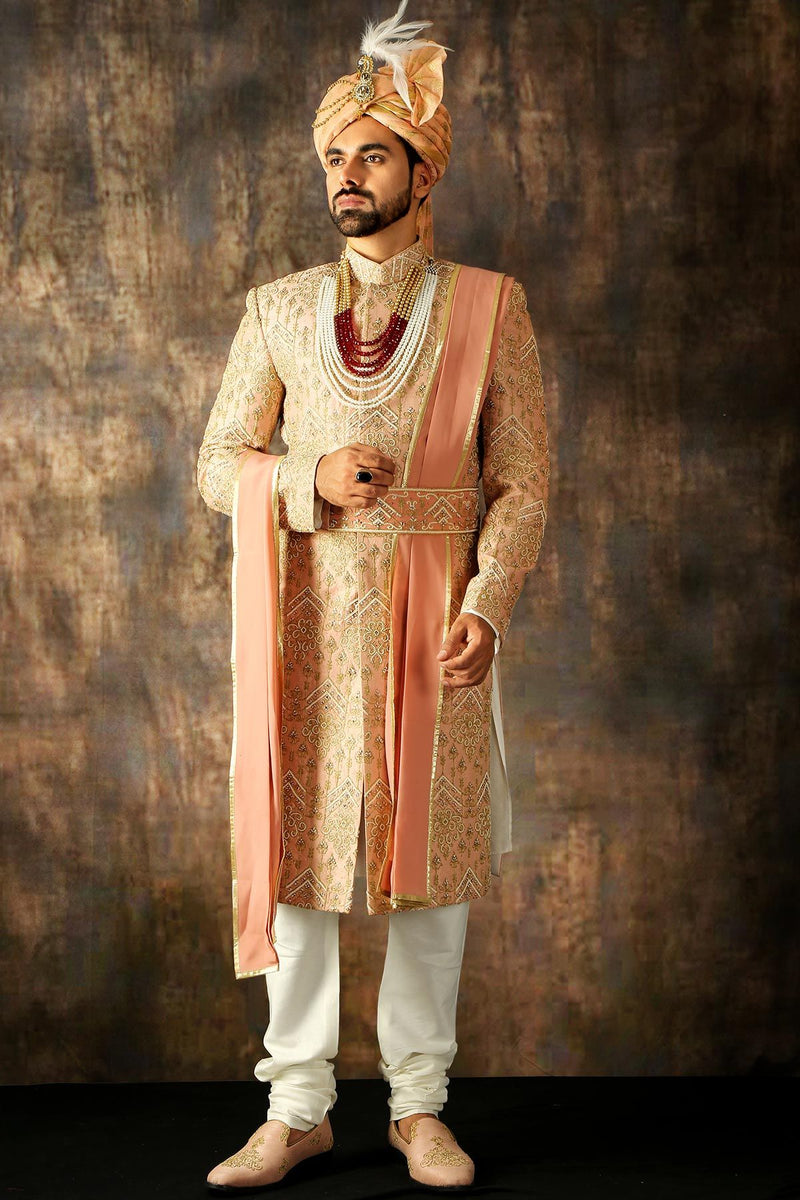 Salmon Pink Bead Embroidered Raw Silk Wedding Sherwani-STYLIZONE