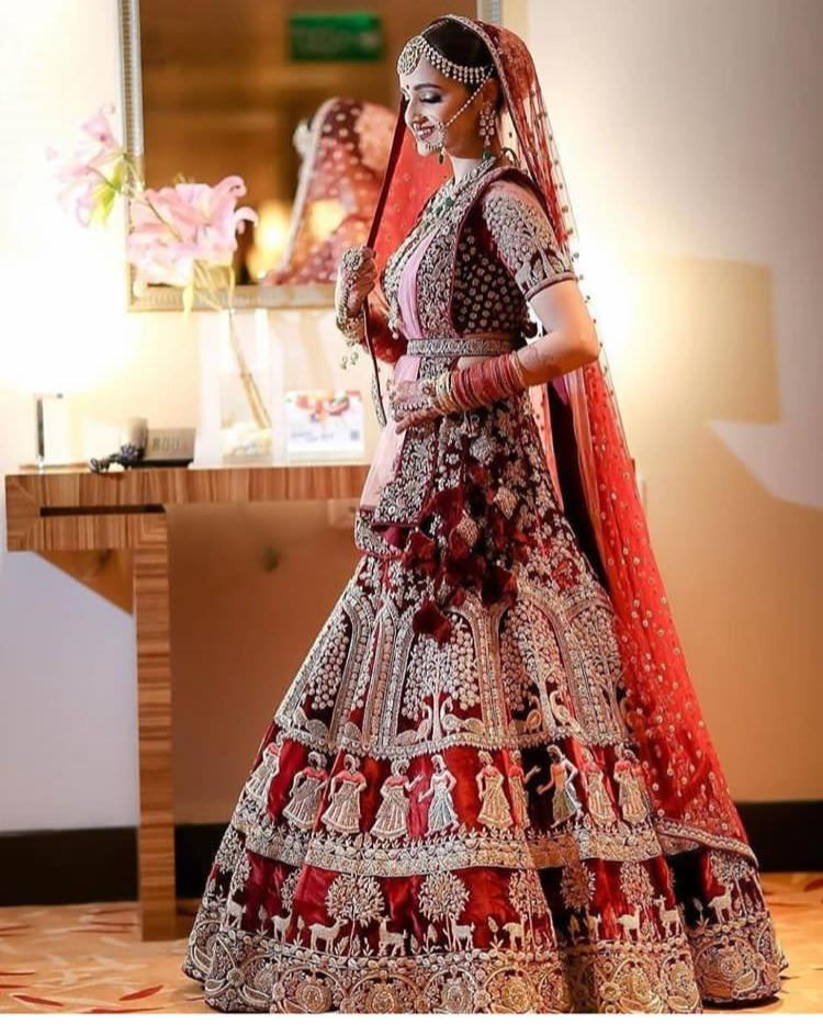 A101-Exclusive Beautiful Designer Maroon Color Bridal Lehenga