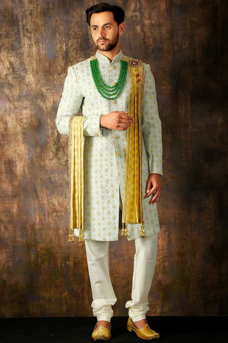Periwinkle Blue Bead Embroidered Silk Wedding Sherwani-STYLIZONE