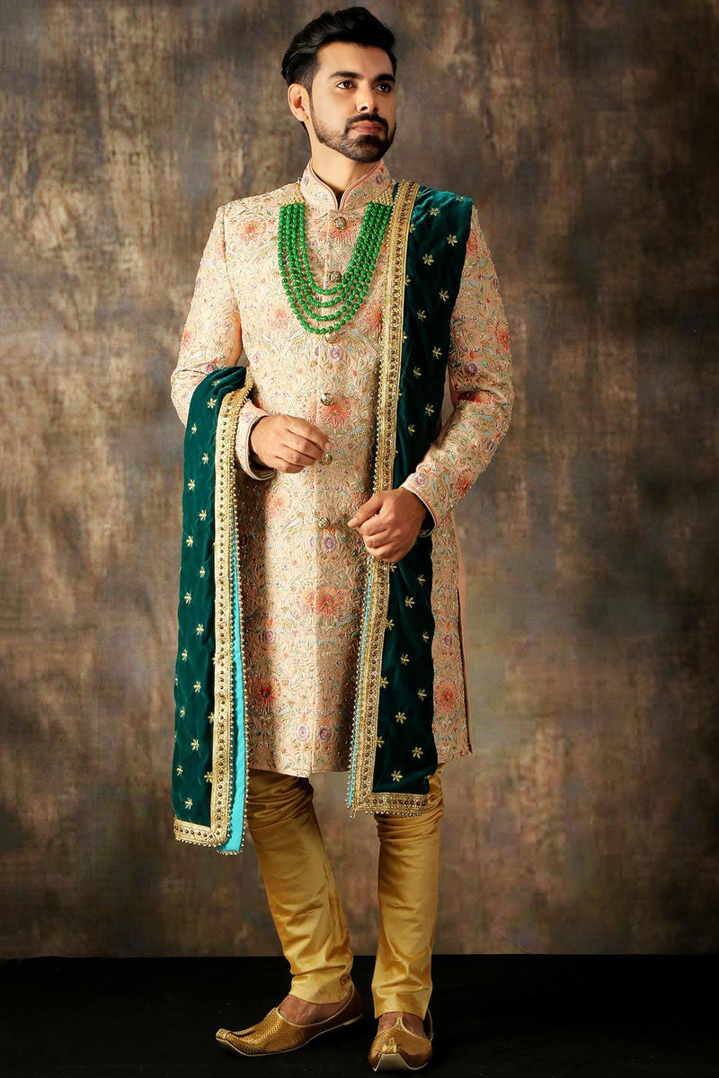 Light Pink Resham Embroidered Raw Silk Wedding Sherwani-STYLIZONE